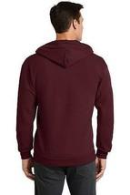 Men's Classic Solid Burgundy Zip Up Sweatshirt Drawstring Hood Sweater Jacket image 2