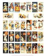 """Vintage Halloween children pumpkins art domino collage sheet 1"""" X 2"""" pri... - $3.99"""