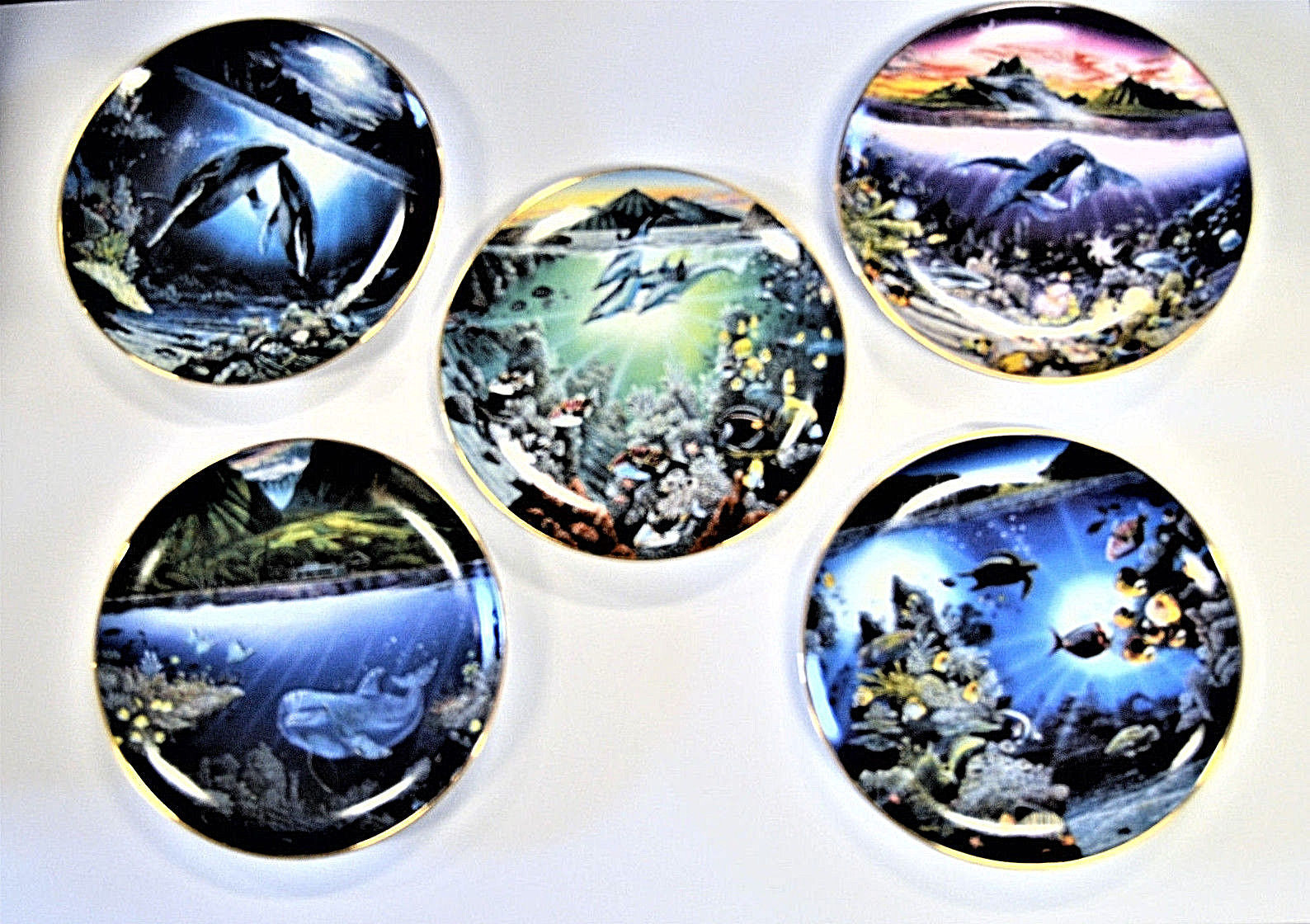 Danbury Mint Underwater Paradise Plate Set Robert Lyn Nelson with Boxes Lot of 5