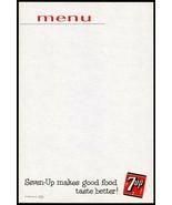 Vintage menu 7UP Makes Good Food Taste Better slogan unused new old stoc... - $8.09