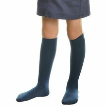 Premium 11 Pair Girls Cotton Socks for Youth Solid Navy Kids Knee High Small image 2
