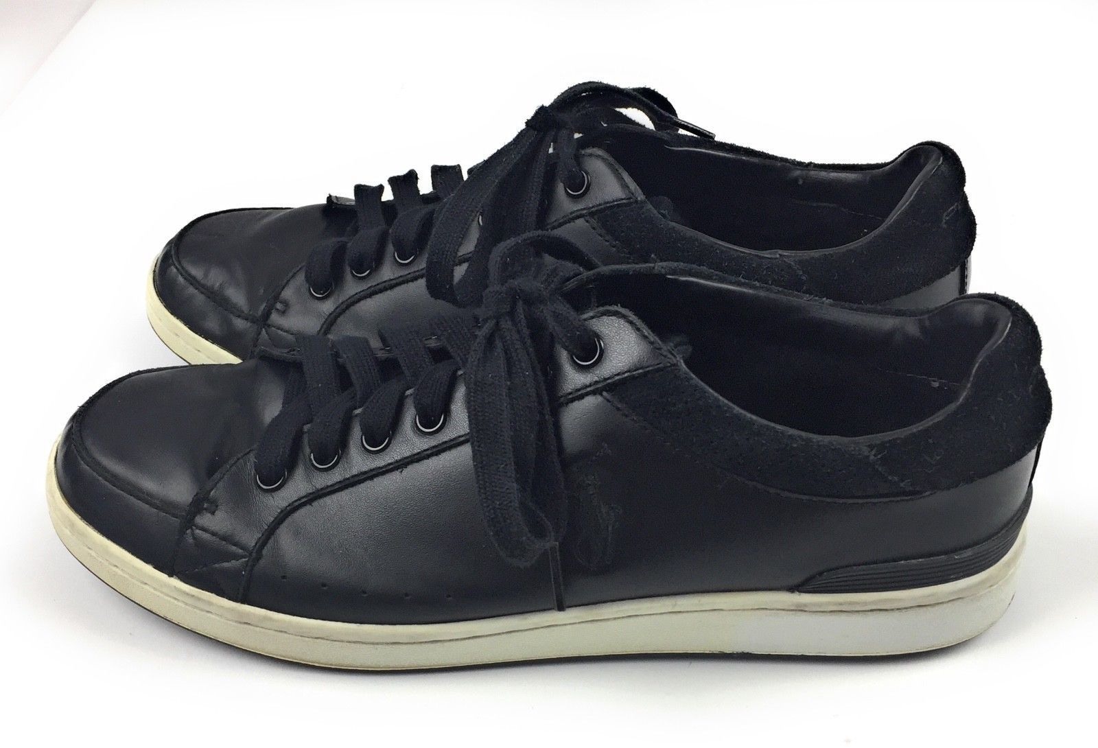 Polo by Ralph Lauren Talbert Black Leather Sneakers Shoes Mens 10.5D