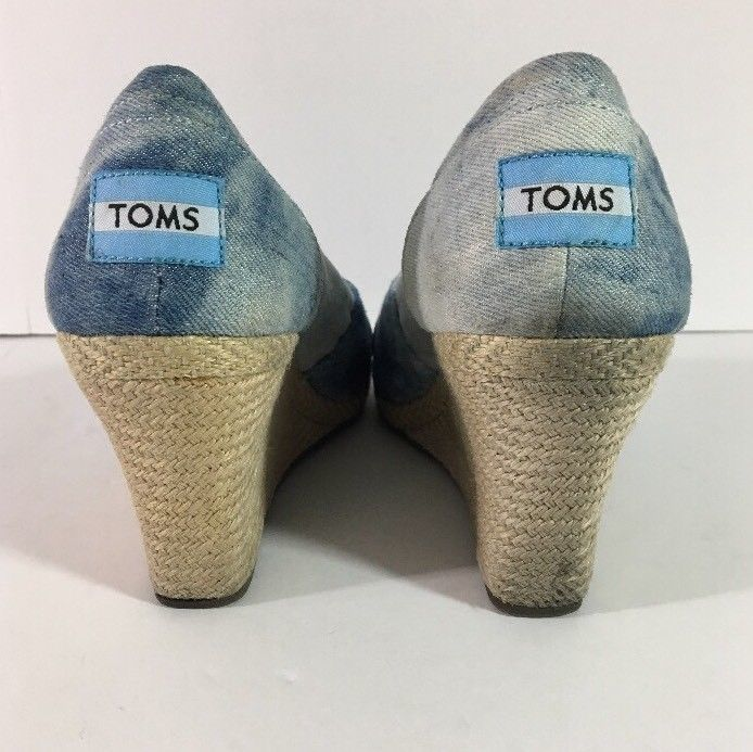 2490c94eb78 Toms Blue Denim Canvas Open Toe Wedge Casual and 50 similar items