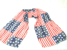 Patriotic 4th of July Women's Scarf Shawl Sheer Fabric Red White Blue 13... - $7.87
