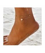 Edary Beach Heart Anklet Beaded Ankle Bracelet Foot Jewelry for Women an... - $7.85