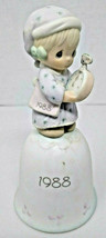 Enesco Precious Moments Time To Wish You A Merry Christmas Porcelain Bell 1988 - $12.16