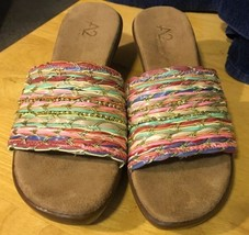 Womens A2 Aerosoles Wegde Slide Multicolor Sandals 7 1/2M - $14.95