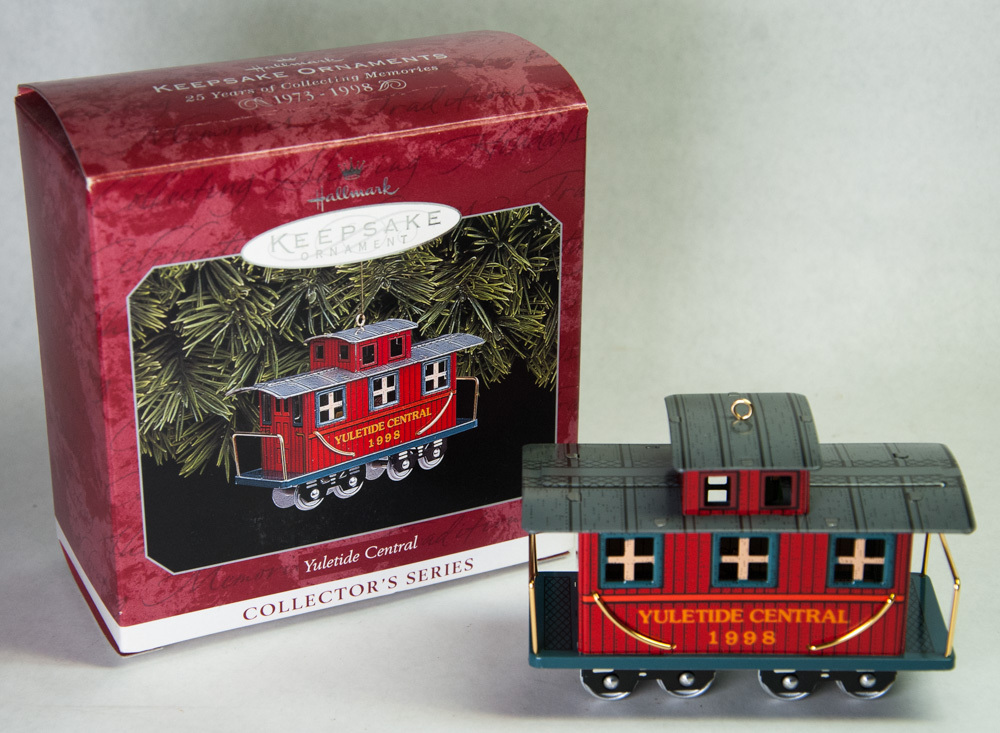 Primary image for Hallmark Keepsake Ornament 1998 Yuletide Central Caboose Pressed Tin Series 5th