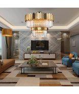 Modern Chandelier For Ceiling Large Crystal Light Fixture Gold Steel Hom... - $2,899.99+