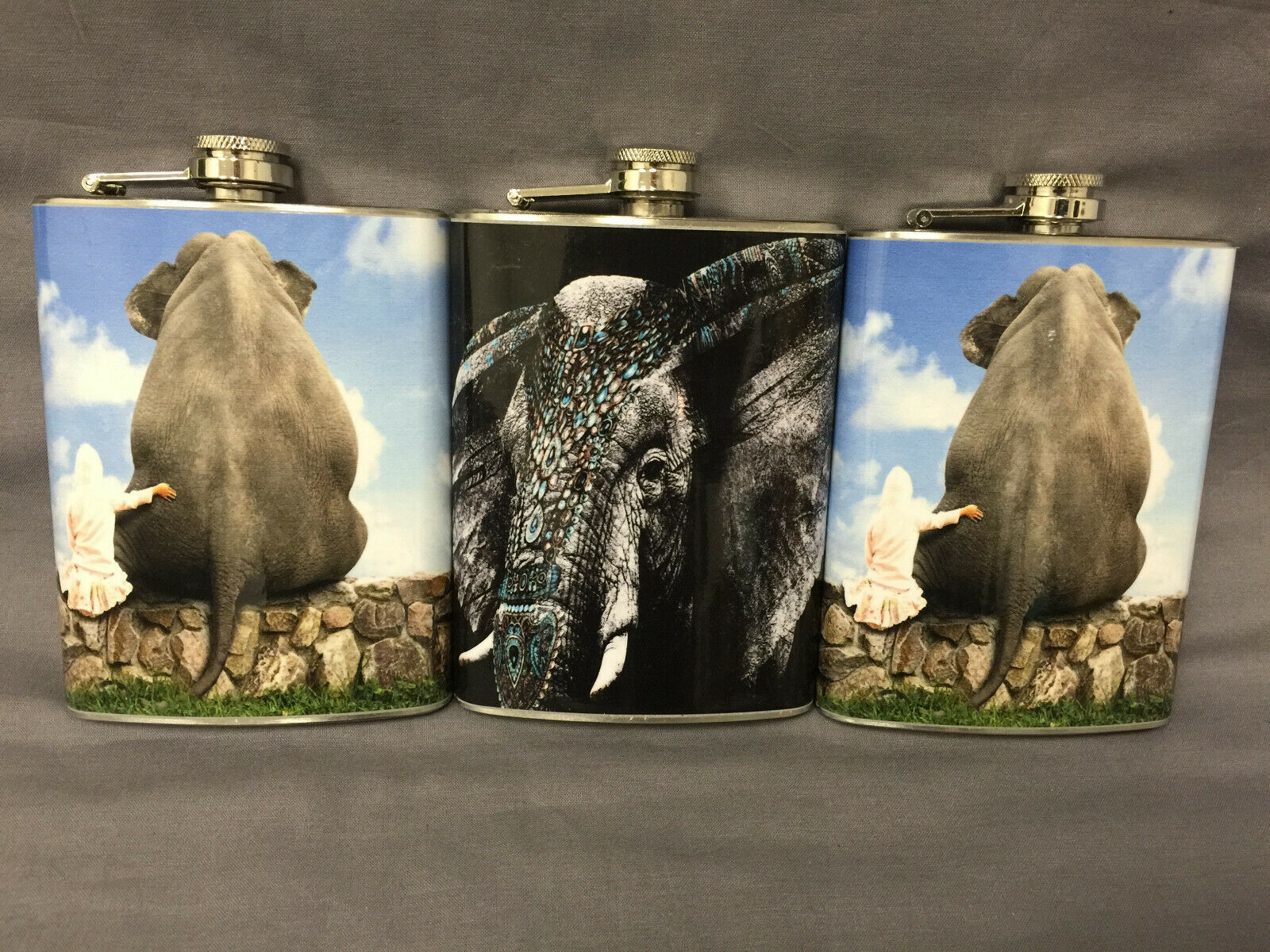 Set of 3 Elephants Set 1 Flasks 8oz Stainless Steel Hip Drinking Whiskey