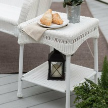 South Bay Traditional White Wicker Patio End Table Side Table Outdoor Fu... - $109.94
