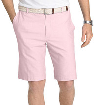 "NEW MENS IZOD NEWPORT OXFORD FLAT FRONT 10.5"" PINK COTTON CHINO SHORTS - $19.99"