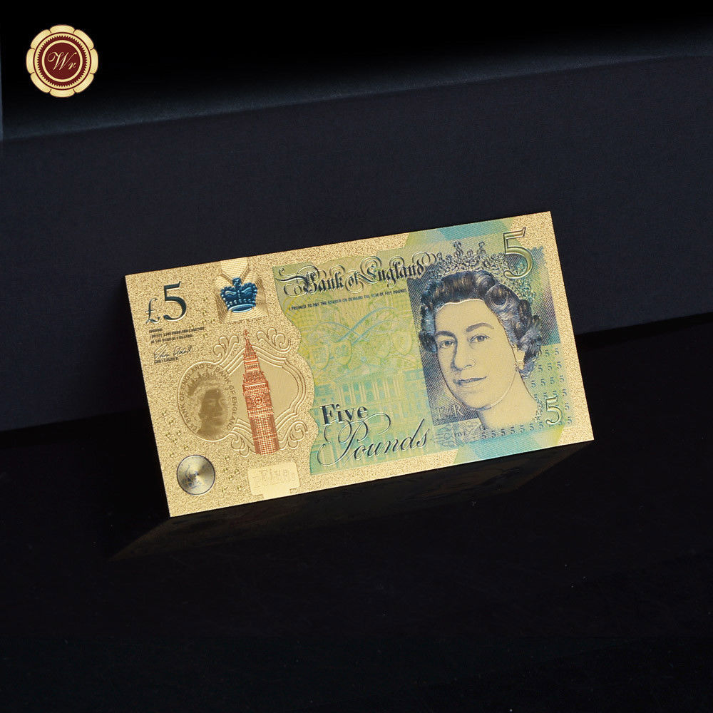 WR Set of Color Gold UK Banknotes 5 Pound - 50 Pounds British Polymer Note Gifts image 2