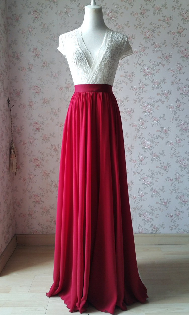 Chiffon skirt maxi red 101 5