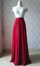 RED Bridesmaid Chiffon Maxi Skirt Plus Size Red Full Long Chiffon Wedding Skirt image 2