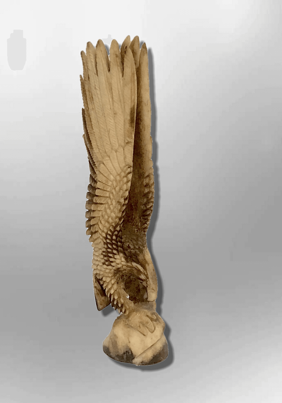 Bone Carved Handmade Full Landing Eagle Full Body No Paint Feather Detailed No W