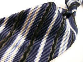 ROBERT TALBOTT  Blue TEXTURED STRIPES   SILK Mens 100  Necktie s  8-1114B - $21.99