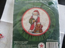 "Bucilla SANTA & TOYS HOOP Counted Cross Stitch Kit #32762 - 5"" Hoop + Ruffle - $4.00"