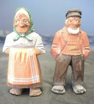"Antique Scandinavian Wood Carved Caricature Man and Woman - 4 1/4"" Tall - $28.49"