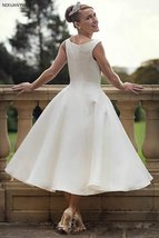 60s Vintage Short Tea Length Neck Satin Wedding Gown image 3