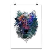 Hipster Wolf Head Tribal Animal Matte/Glossy Poster A0 A1 A2 A3 A4 | Wel... - $7.99+