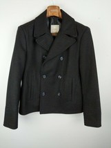 Mango Man Peacoat M Medium Black Double Breasted Wool Blend Blacksmith C... - $98.99