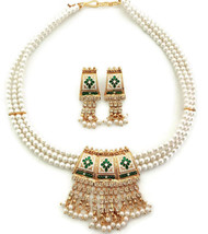 Indian Necklace Jewelry Set Pearl Rhinestone Meenakari Green Colour Gold Plated - $15.88