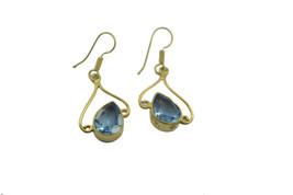 Blue Gold Plated Fashion classy blue topaz cz regular Earring UK gift - $14.48