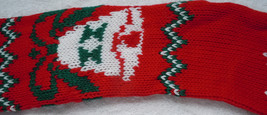 Vintage Homemade Red Knit Bell Christmas Stocking With Painted Judy - $7.99
