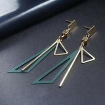 Long Drop Big Gold Statement Geometric Triangle Dangle Earrings (Green - $5.45