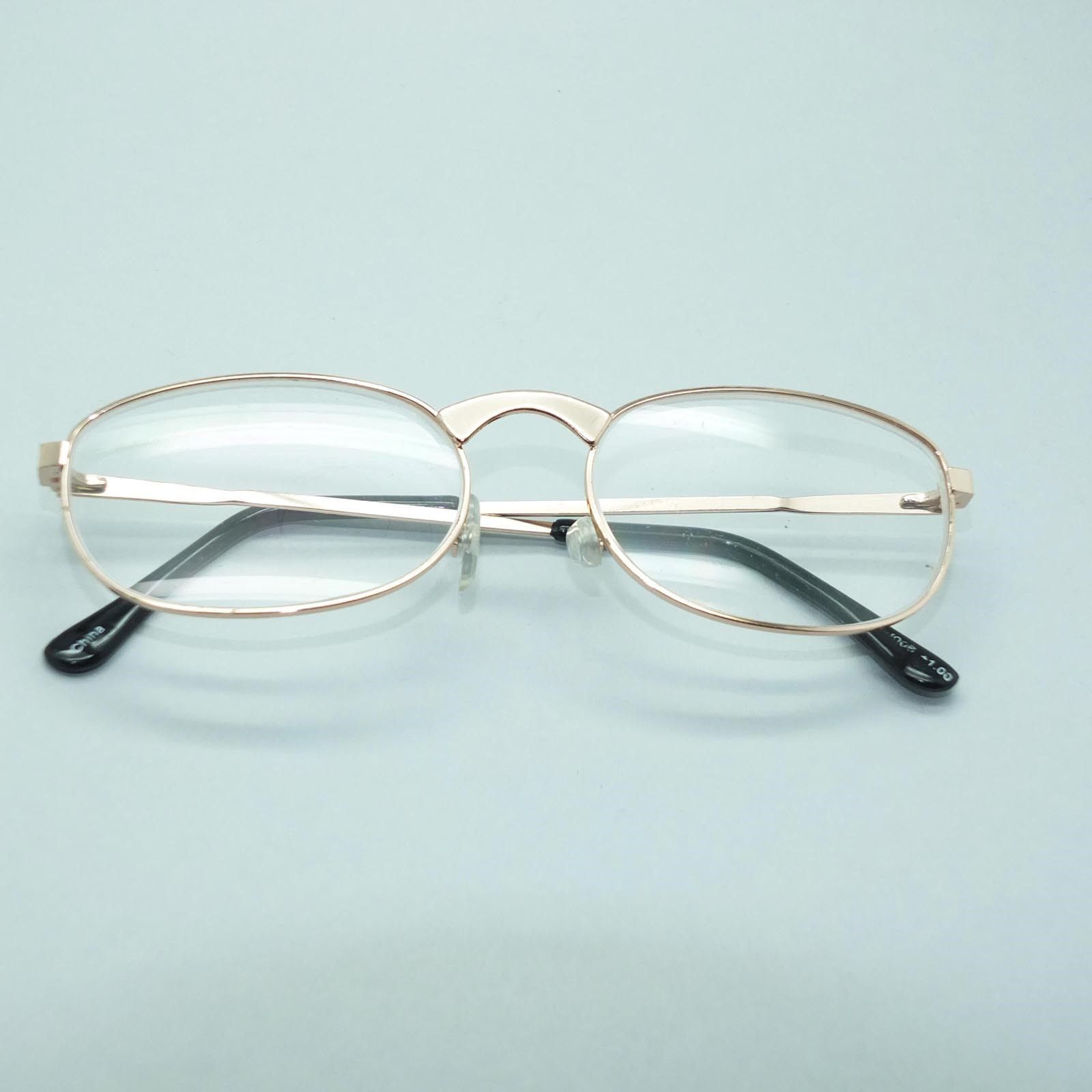 Women's Gold Metal Wire Frame Oval Classic Simple Reading Glasses +1.00 Lens
