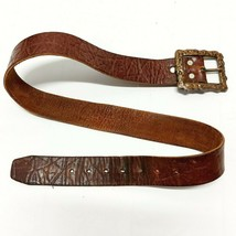 """Vintage Brown Genuine Leather Casual Belt Unisex Approx. 1 1/2"""" wide & 4... - $31.65"""