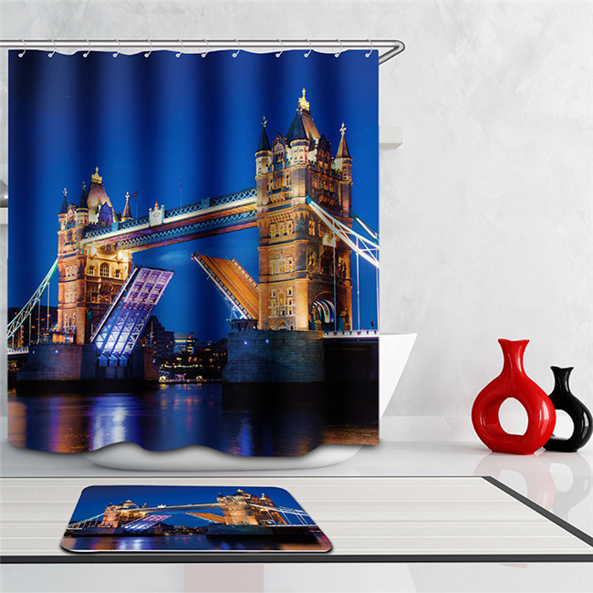 Scenery 3d Waterproof Shower Curtain London Bridge Fabric Bathroom curtain Maril - $36.40