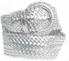 "Wide Silver Braided Belt for Women Leather 3""  Cinch Fashion Dress Casua... - $14.50"