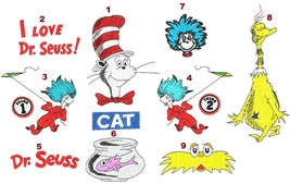 9 designs: Cat in the Hat Dr Seuss digitized embroidery designs Digital ... - $8.99