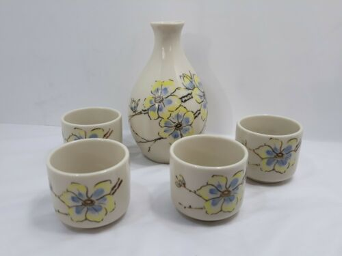 Primary image for Vintage Otagiri Sake Set Hand Painted Original Sticker Yellow Blue 4 cups