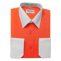 BERLIONI ITALY MEN'S PREMIUM WHITE COLLAR & CUFFS TWO TONE DRESS SHIRT ORANGE
