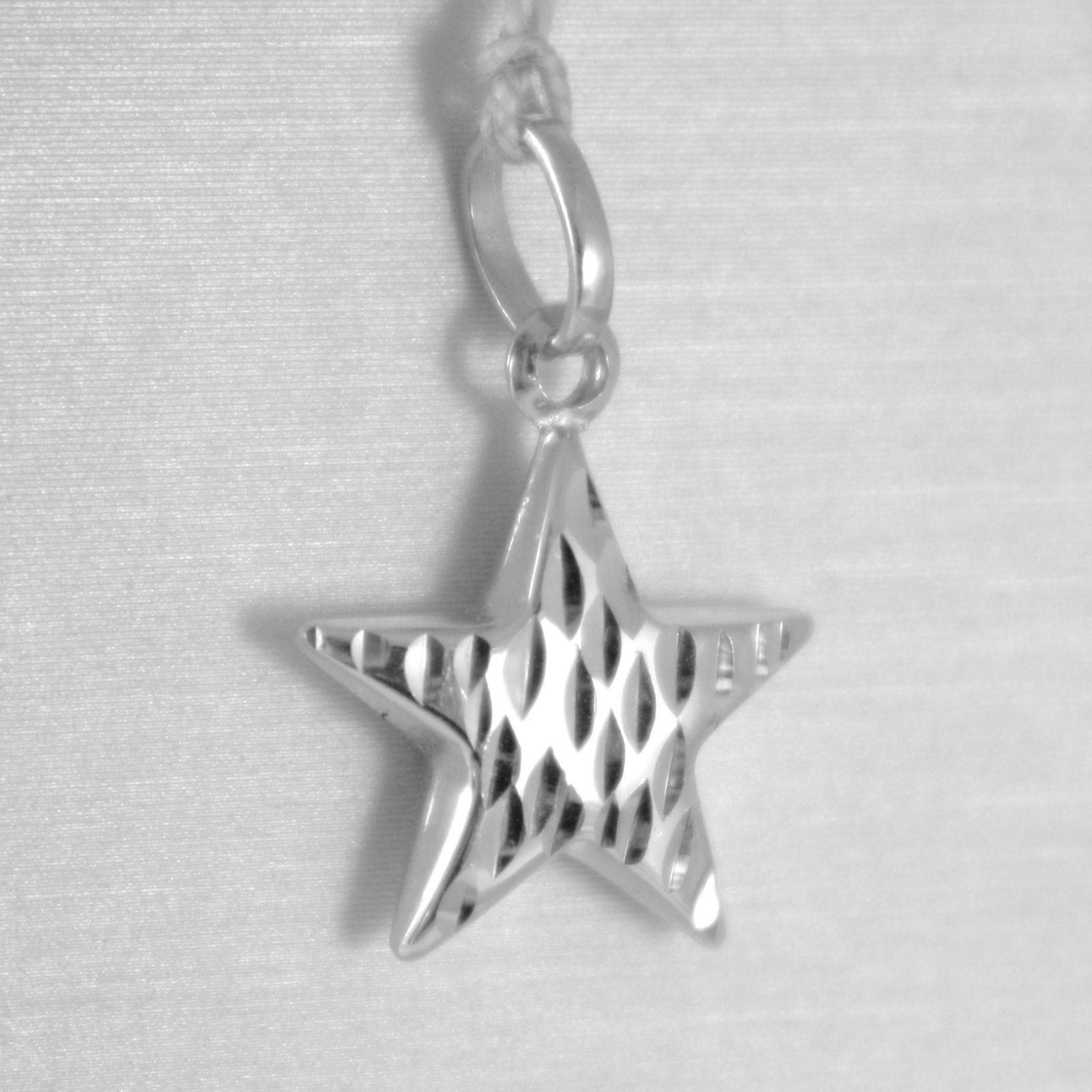 18K WHITE GOLD ROUNDED STAR PENDANT CHARM 20 MM WORKED & SMOOTH, MADE IN ITALY