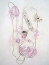 New GUESS in Silver Purple Sones Butterfly Necklace Neu Halskette - $21.00