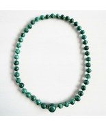 """Vintage Russian Malachite Graduated 9-20mm Round Bead Necklace 22"""" copper - $178.19"""
