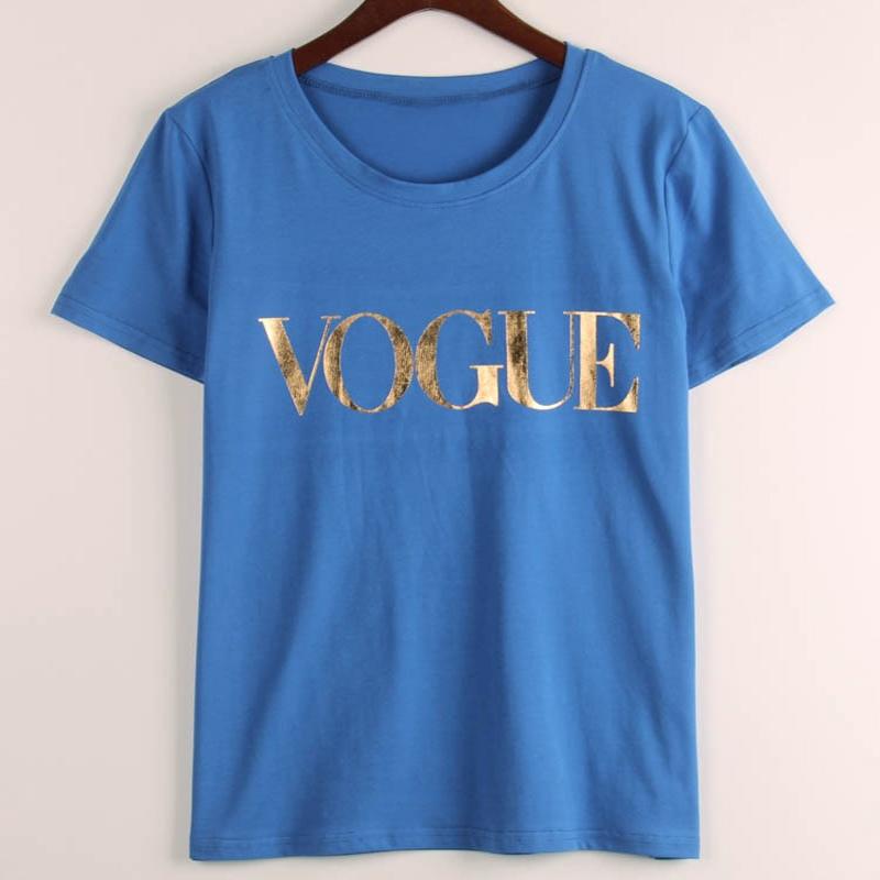 2018 New Fashion Brand Summer T Shirt Women VOGUE Printed T-shirt Women Tops Tee image 4