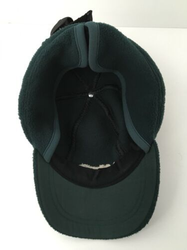 Vintage Columbia Fleece Hat With Ear Flaps Winter USA Made Green Adjustable