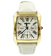 Seiko Dress Silver Roman Guilloche Leather Steel Quartz Ladies Watch SKY... - $217.55