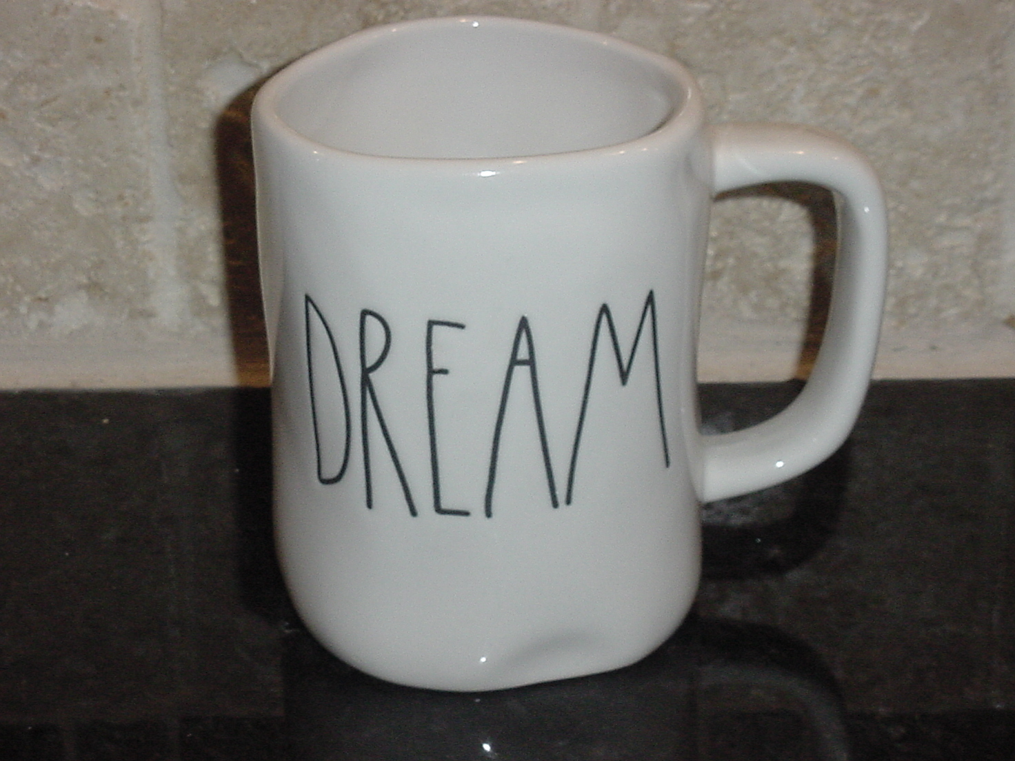 Rae Dunn DREAM Mug, Ivory with Black Lettering