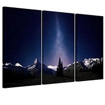 Nighttime Sky & Stars Unframed Canvas Print Wal... - $19.99