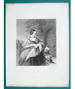 LOVELY MAIDEN with Goat Pets - Engraving Antique Print - $12.60