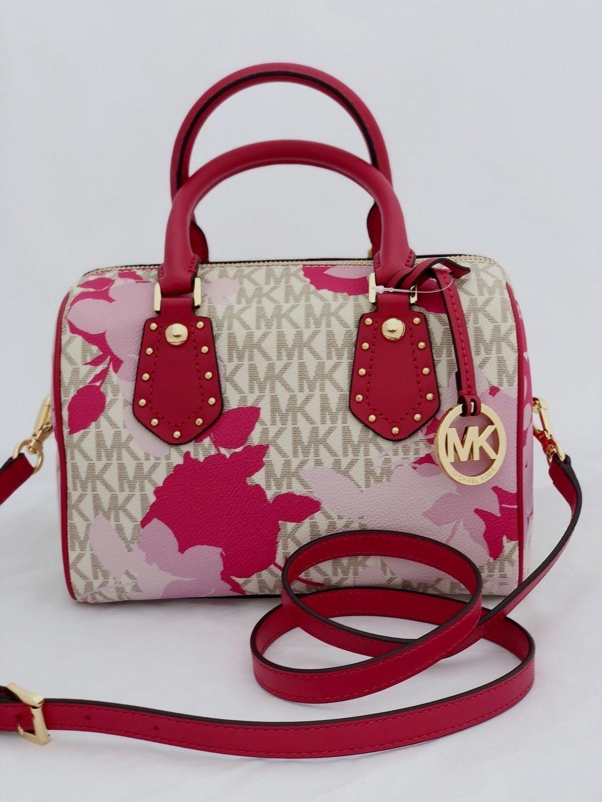 57. 57. new MICHAEL KORS pink logo ARIA SMALL SATCHEL handbag purse  crossbody bag 92381f8a049d5