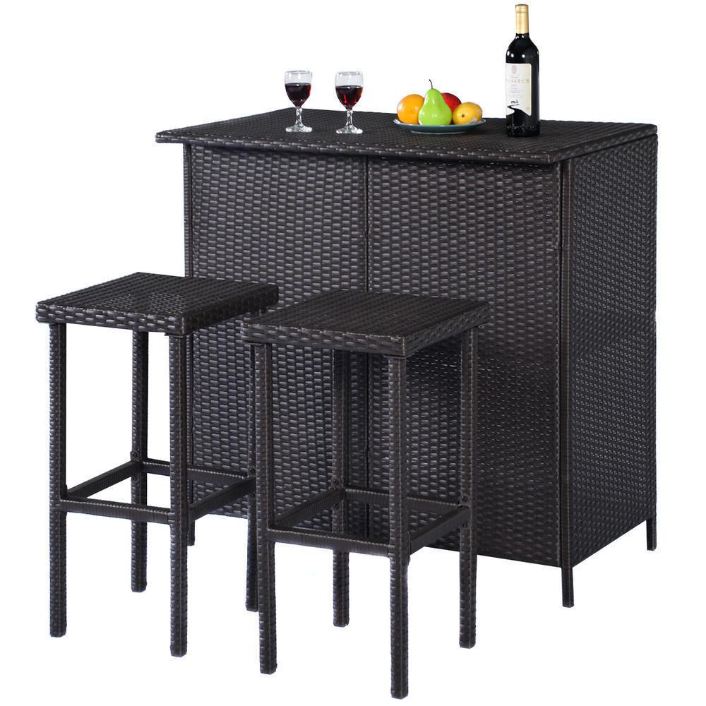 3-Pc Outdoor Rattan Wicker Bar Set Patio Furniture Backyard Table & 2 Stools NEW