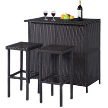 3-Pc Outdoor Rattan Wicker Bar Set Patio Furniture Backyard Table & 2 St... - $229.99