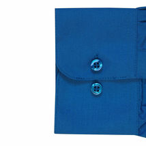 Omega Italy Men's Long Sleeve Solid Regular Fit Royal Blue Dress Shirt - XL image 3
